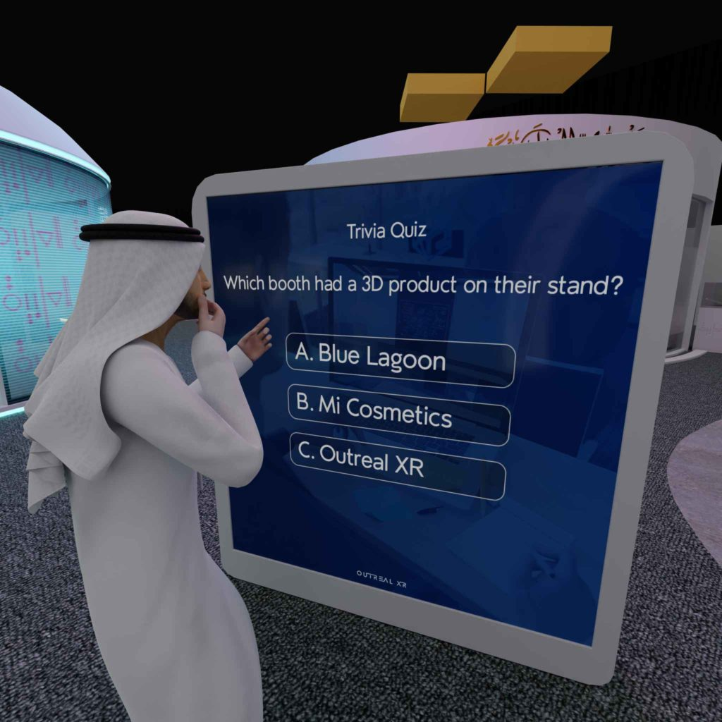 Trivia quizzes gamification for virtual events platform